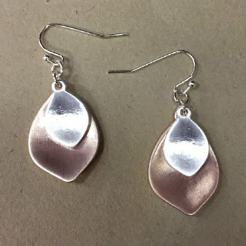 Costume double leaf shape drop earrings in a matt silver and rose gold colour