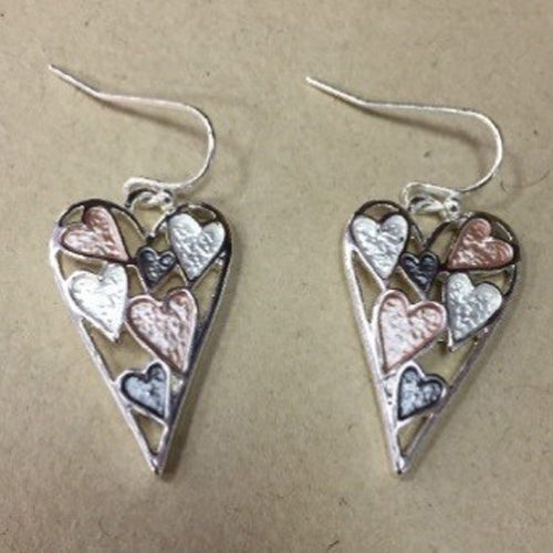 Costume heart drop earrings in a silver colour with small grey and rose gold colour hearts