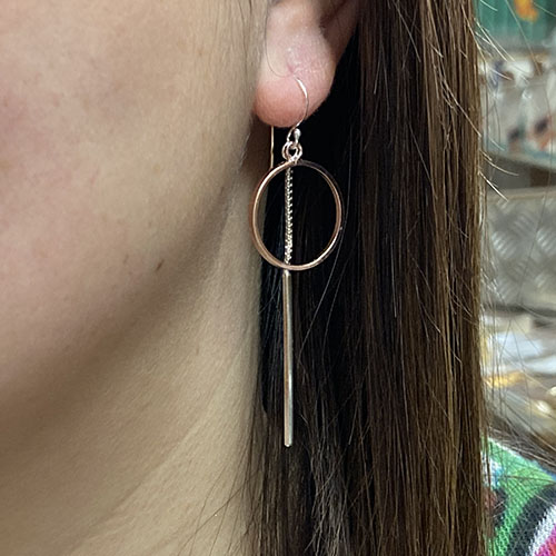 Long sterling silver earrings with rose gold-plated circle