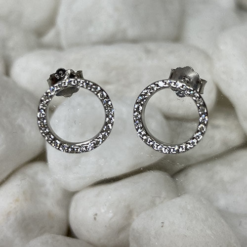 Small circle earrings with clear cubic zirconia stones