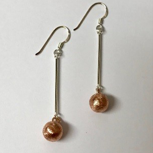 Long sterling silver earrings with rose gold-plated ball drop
