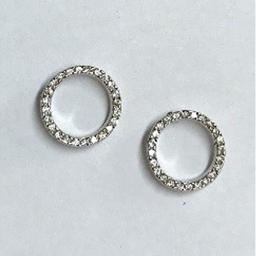 Small 10mm circle earrings with clear cubic zirconia stones