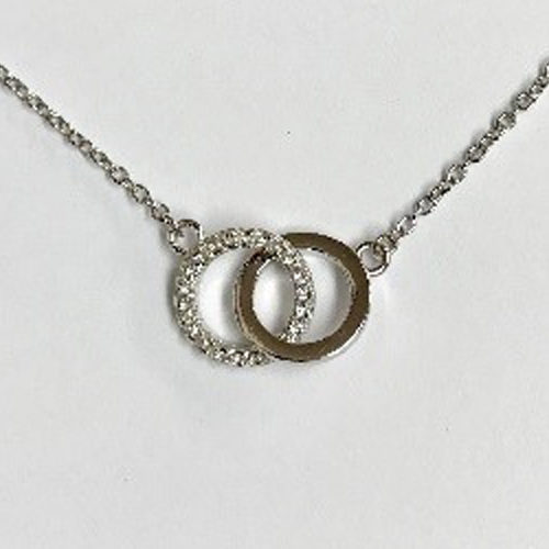 Sterling silver interloping open double circle pendant with clear cubic zirconia stones pendant on a silver chain measuring 18 inches