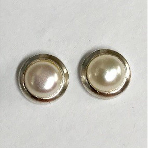 Sterling silver stud earrings with a natural freshwater pearl