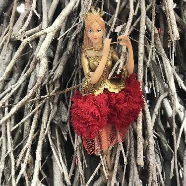 Gold and red princess tree decoration