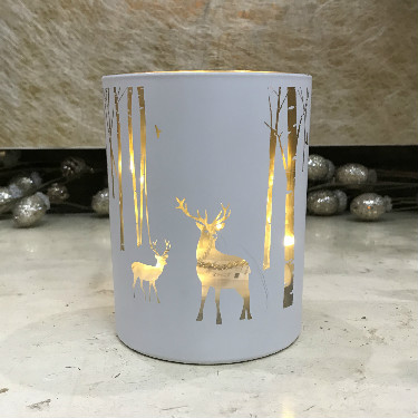 Glass stag Christmas T light holder