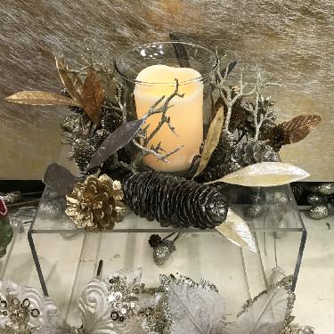 Pinecone glass hurricane Christmas centre piece
