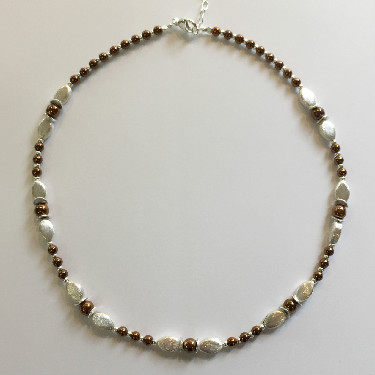 Silver and bronze haematite necklace