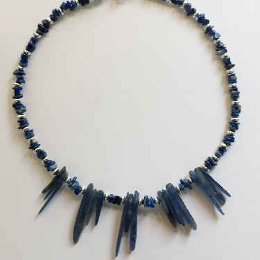 Silver Lapis and Kyanite Necklace
