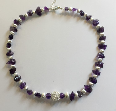 Silver and Irregular Amethyst Necklace