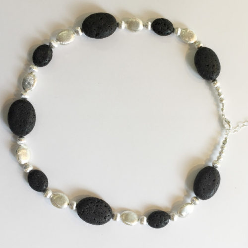 Silver and Black Lava Necklace