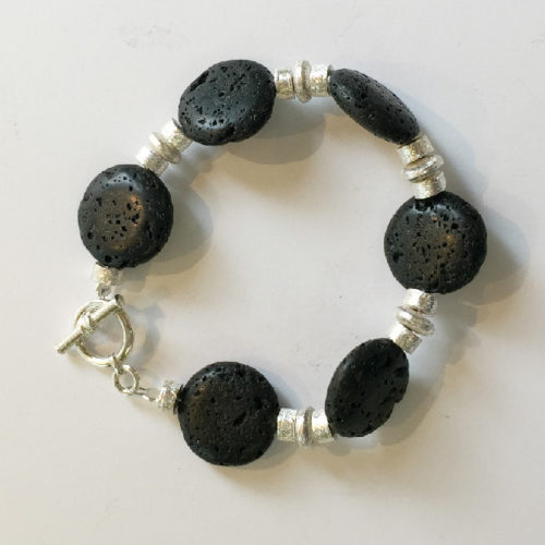Silver and Lava Bracelet