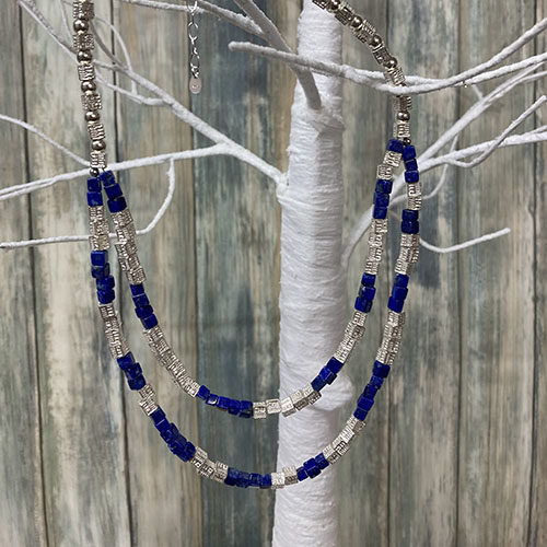 Silver and Lapis cube Necklace