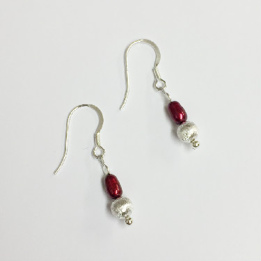 Silver and Raspberry Pearl drop Earrings