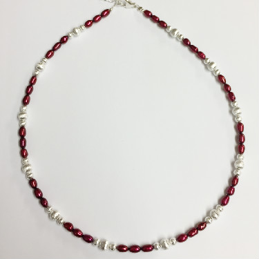 Silver and Raspberry Freshwater Pearl Necklace