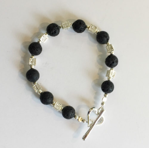 Silver and black Lava Bracelet