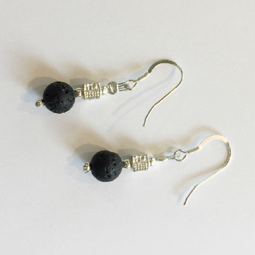 Silver and Lava drop Earrings