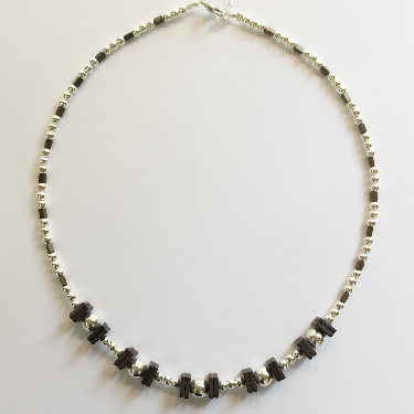 Sterling Silver and square Haematite Necklace