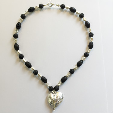 Silver and Lava Necklace with Silver Heart