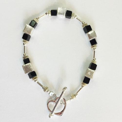 Silver and Black Jet Bracelet