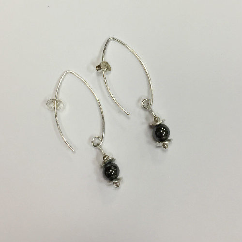 Silver and Haematite drop Earrings