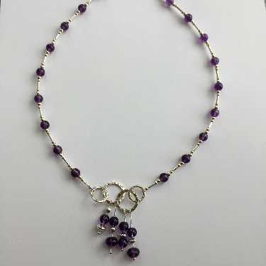 Silver and Amethyst drop Necklace