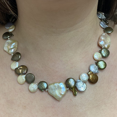 Silver and multi colour Baroque style Pearl Necklace