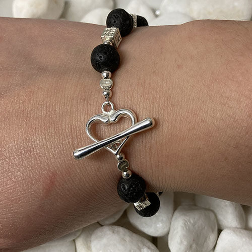 Silver and black Lava Bracelet