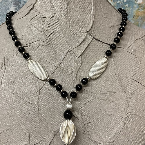 Silver and black Agate Necklace
