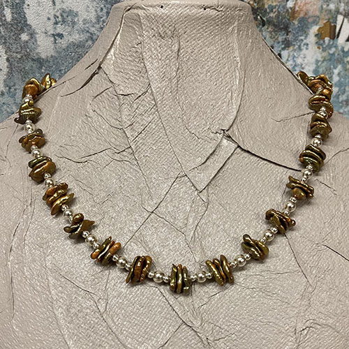 Silver and Baroque style Pearl Necklace
