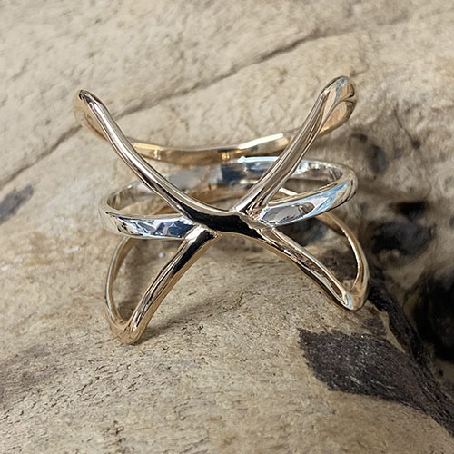 Silver and rose gold statement ring