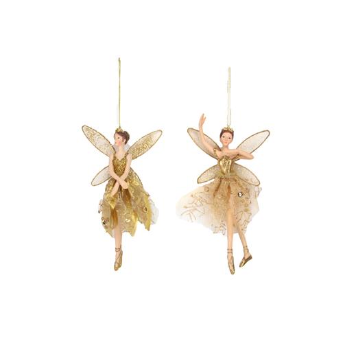 Gold ballerina fairy tree decoration