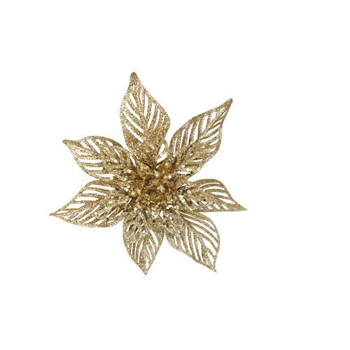 Gold glitter acrylic poinsettia