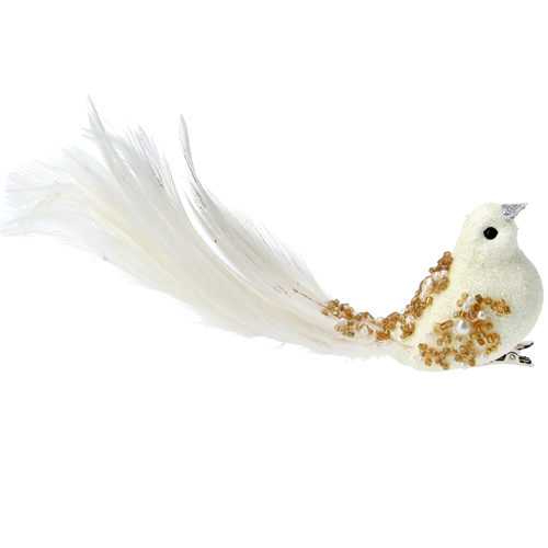 Cream and gold bird tree decoration
