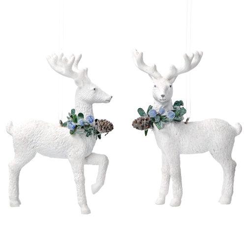 White resin reindeer tree decoration
