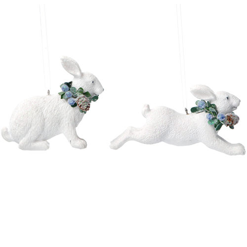 White resin rabbit tree decoration
