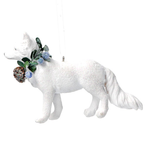 White resin fox tree decoration