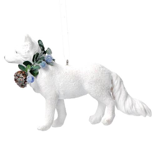 White resin fox tree decoration