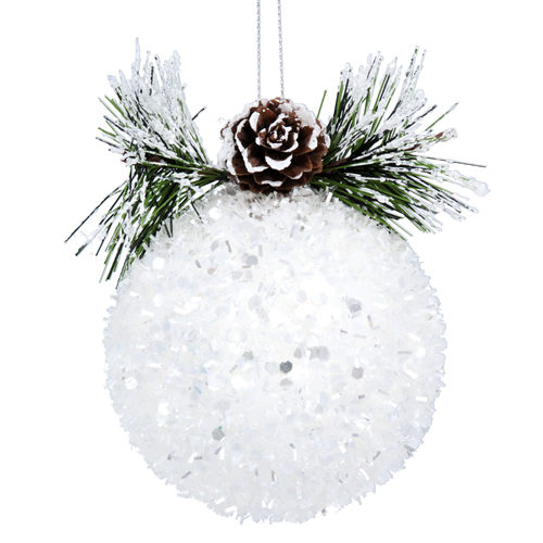 White tinsel ball tree decoration