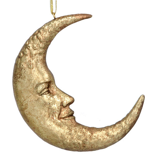 Gold moon face tree decoration
