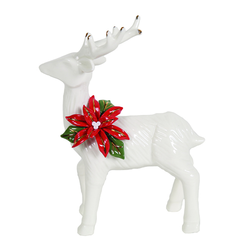 White ceramic standing Christmas Reindeer