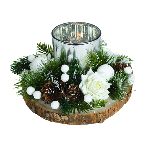 Festive candle holder with base and acorns