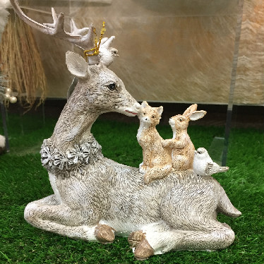 Festive Stag with animals ornament