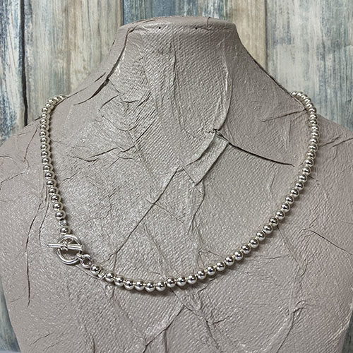 Sterling Silver Bead Necklace with Chunky T-bar