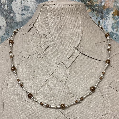 Sterling silver and bronze hematite necklace