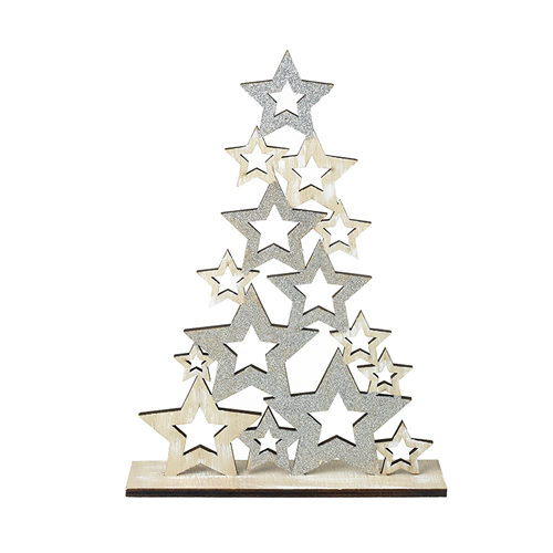 Silver and star wooden tree