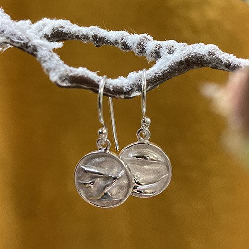 Sterling silver disc drop earrings