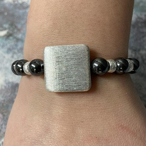 Sterling silver and hematite bracelet