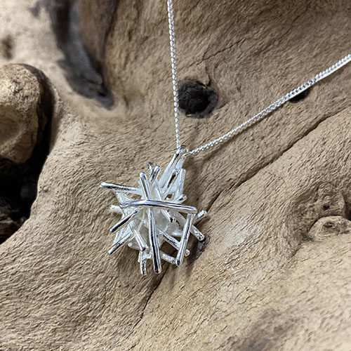 Sterling silver abstract design pendant
