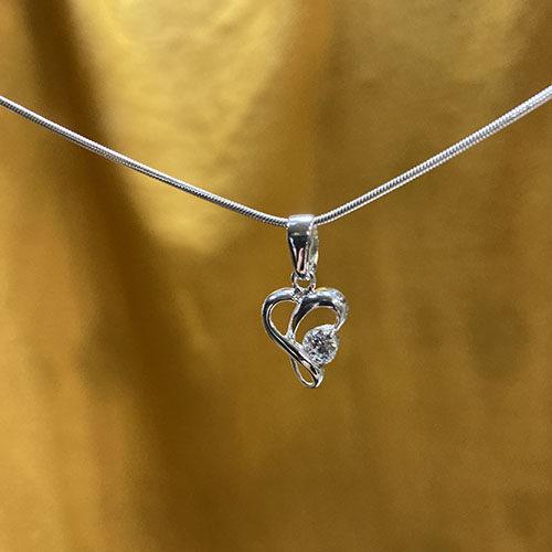 Sterling silver twist heart pendant